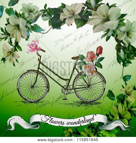 Vintage  bicycle with flower