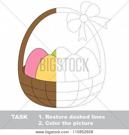 Busket with eggs to be colored. Vector trace game.