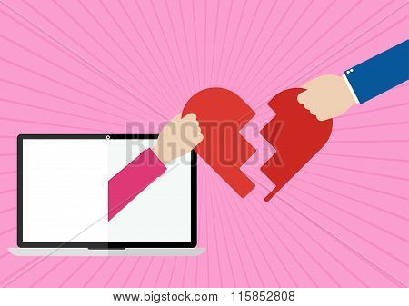 Womans Hands Appeared From Laptop Screen And Man Giving Their Own Hearts To Each Other With I Love Y