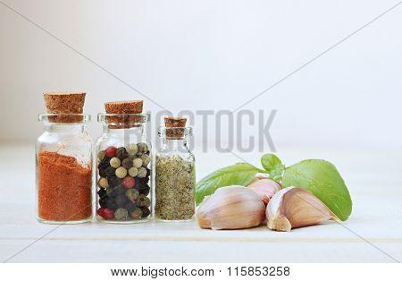 Spices,garlic,basil