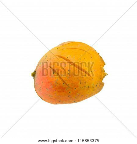Yellow rotten mangoes isolated
