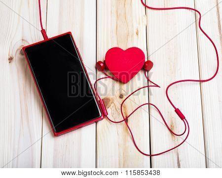 Smart Phone, Earphones And Heart.