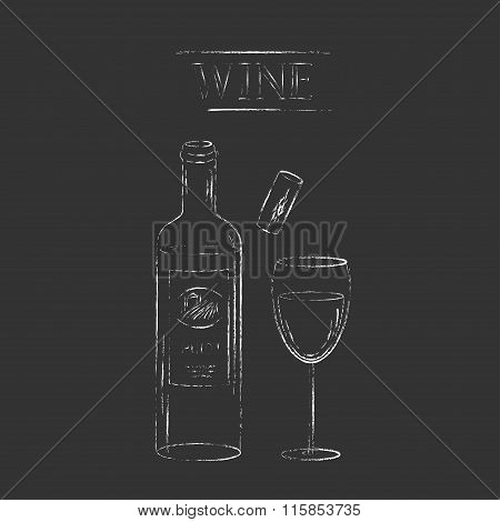 Vector Chalk Illustration Of Wine Bottle, Wine Glass And Cork