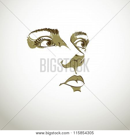 Black And White Illustration Of Lady Face, Delicate Visage Features. Eyes And Lips Of Peaceful  Woma
