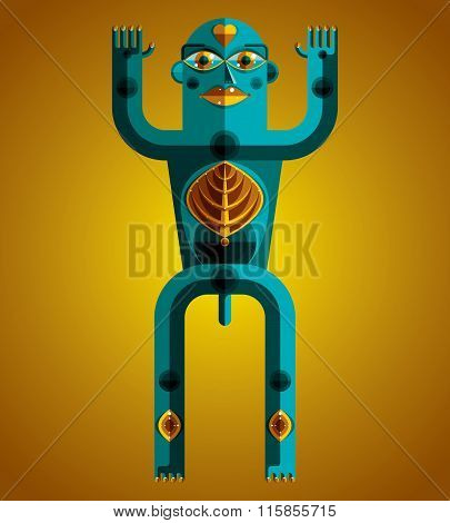 Graphic Vector Illustration, Anthropomorphic Character Isolated On Decorative Art Backdrop, Decorati