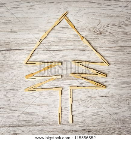 Coniferous Tree Of Toothpicks On The Wooden Background