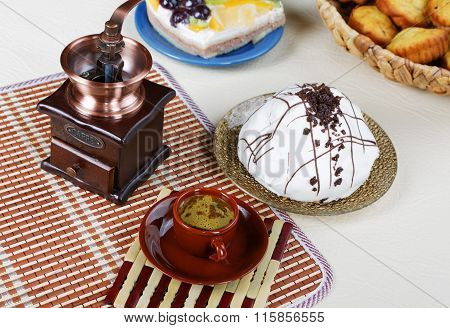 Still-life With A Cup Of Coffee  Pie And Coffee Grinder