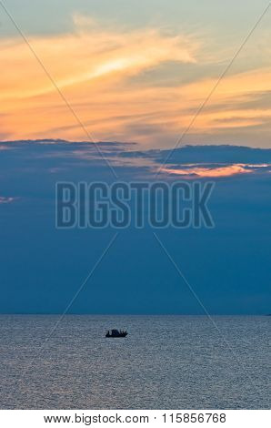 Sunlight reflected on clouds after sunset, west coast of Sithonia, Greece