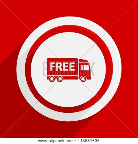 free delivery red vector flat icon