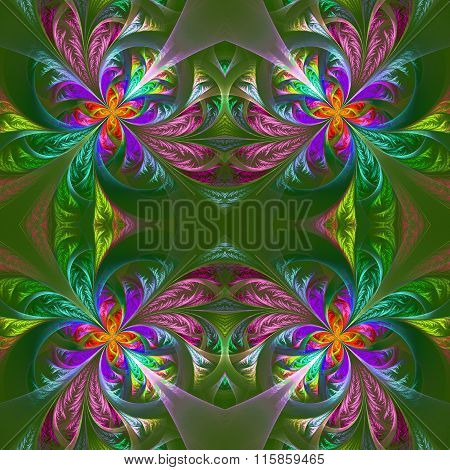 Symmetric Multicolored Fractal Tracery. Collection - Frosty Pattern. On Green