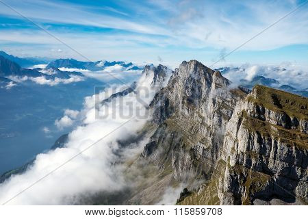 Clouds at the Churfirsten mountains