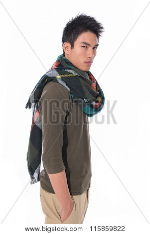side view handsome young man with scarf standing