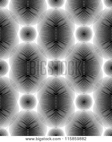 Black And White Vector Ornamental Pattern, Seamless Art Background Decorated With Monochrome Lines,