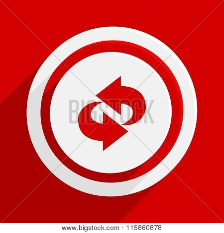 rotation red vector flat icon