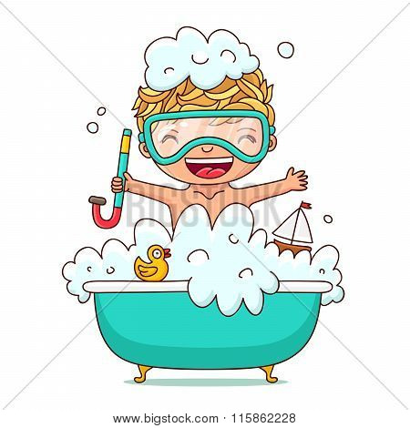 Kid Sits In A Foam Bath. Vector.
