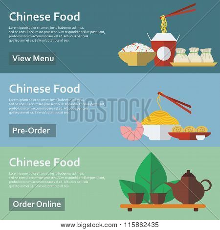 Chinese food. Web banners in flat style. Vector illustration.