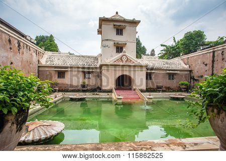 Yogyakarta, Indonesia - April 6, 2015: Taman Sari water palace of Yogyakarta on Java island, Indonesia