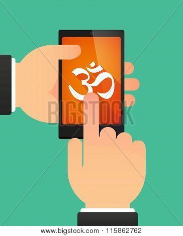 Man Using A Phone Showing An Om Sign