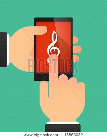 Man Using A Phone Showing A G Clef