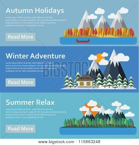 Seasons of the year. Mountains and river. Vector flat style.