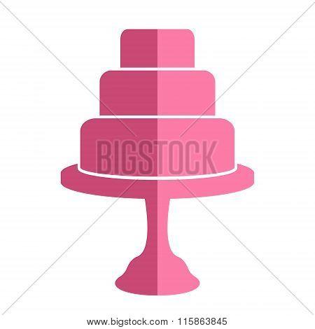 Flat wedding cake icon.