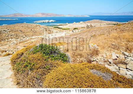 Temple  In Delos Greece The   And Old Ruin Site
