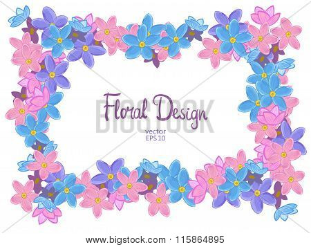 Vector frame with forget-me-not flowers