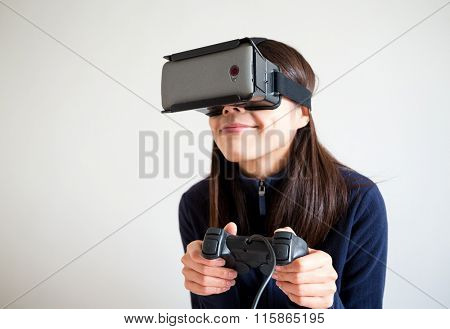 Woman play with the vr device