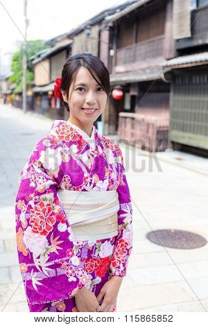 Woman with japanese kimono at kyoto