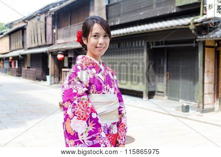 Japanese Woman with japanese kimono at kyoto