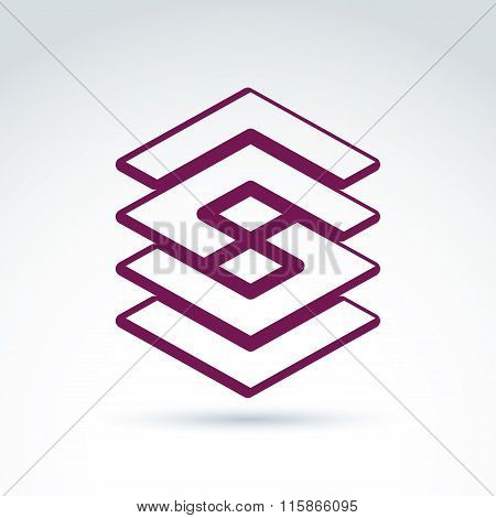 Complex Geometric Corporate Element. Vector Abstract Entwined Figures Isolated On White Background,