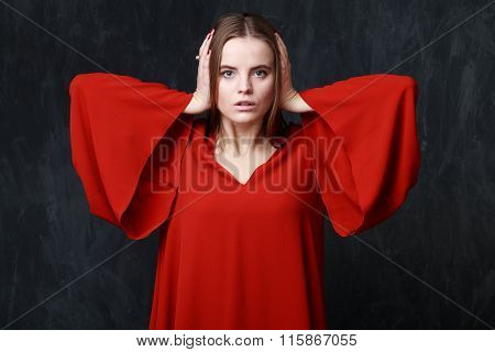 Crying Woman In Res Dress, Dramatic Pose, Hands On The Head