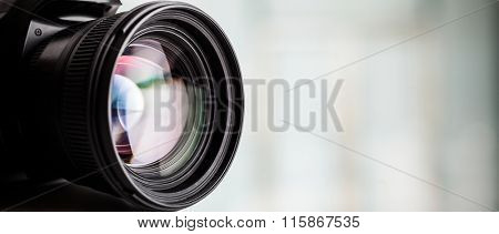 Closeup of a digital camera. Large copyspace