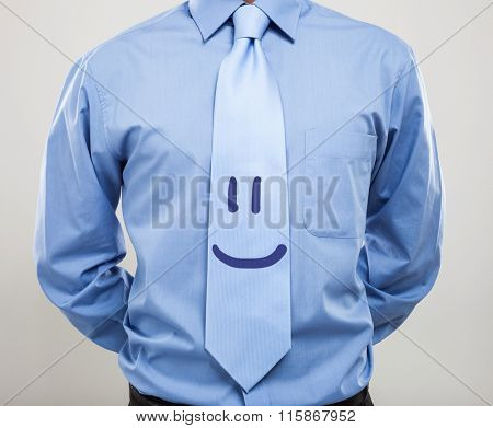 Smiling necktie. Friendly business concept
