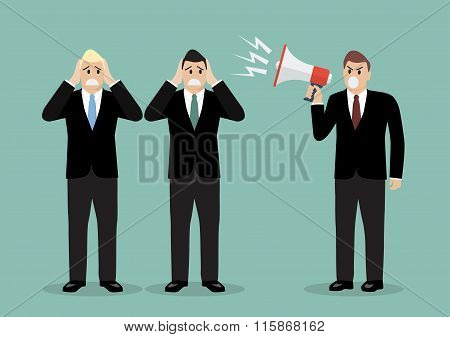 Angry Boss Screaming To Businessmen