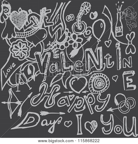 Valentines day hand-drawn symbols collection