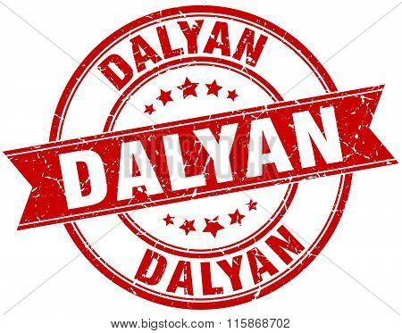 Dalyan red round grunge vintage ribbon stamp