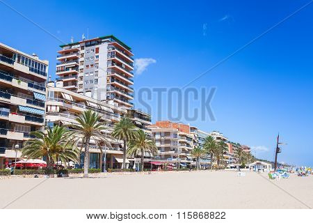 Spain. Coastal Street And Public Beach Of Calafell
