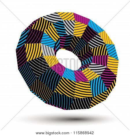 Asymmetric 3D Abstract Striped Vector Object, Colorful Geometric Spatial Form. Render And Modeling.