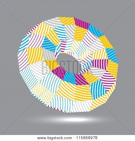 Spatial Vector Colorful Object Isolated, 3D Technology Figure With Geometric Lines.