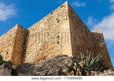 Medieval Stone Castle On The Rock. Calafell, Spain