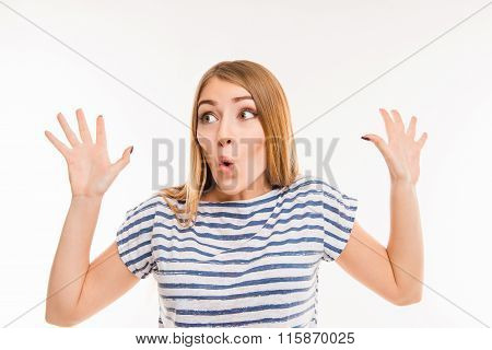 Surprised Girl Gesturing With Hands