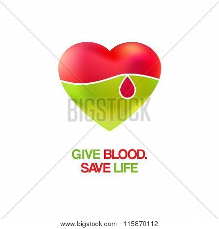 Heart and drop for save life logo