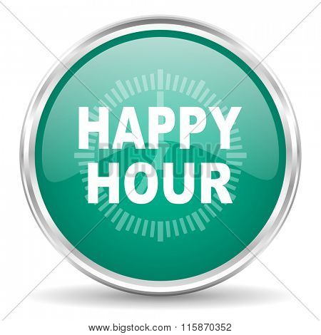 happy hour blue glossy circle web icon