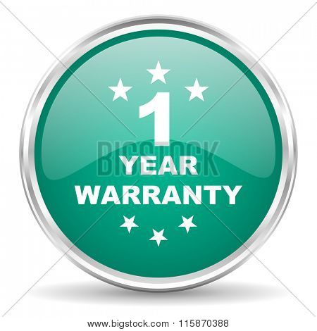 warranty guarantee 1 year blue glossy circle web icon