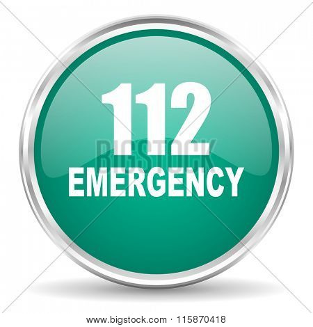 number emergency 112 blue glossy circle web icon