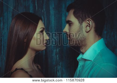 Sexy Young Couple In Love Looking At Each Other, Close Up Photo
