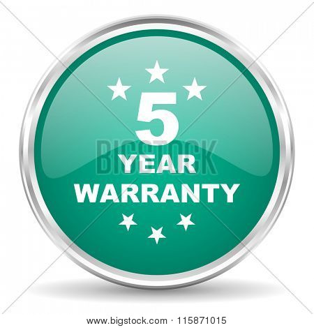 warranty guarantee 5 year blue glossy circle web icon