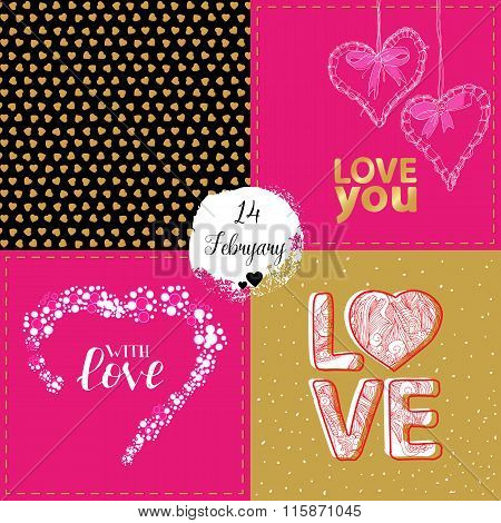Vector collection of four Valentines cards