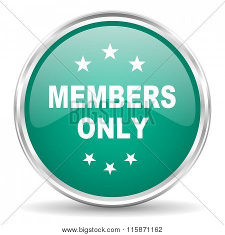 members only blue glossy circle web icon